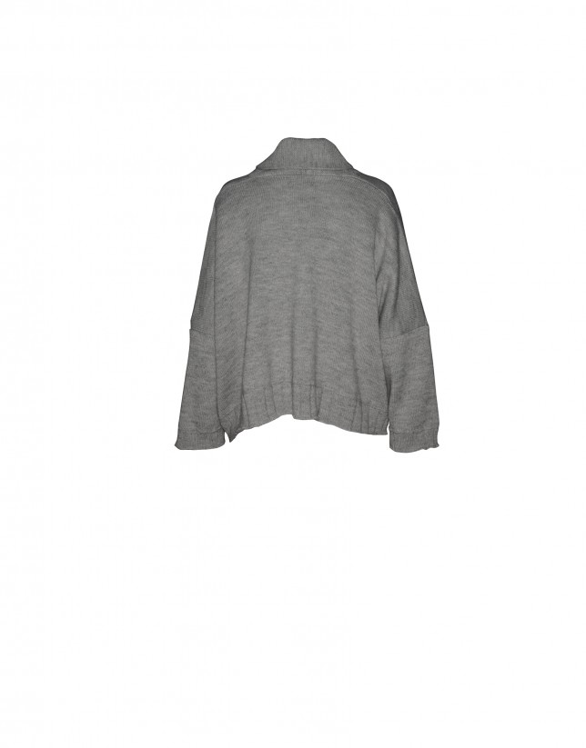 Light grey short wide cardigan