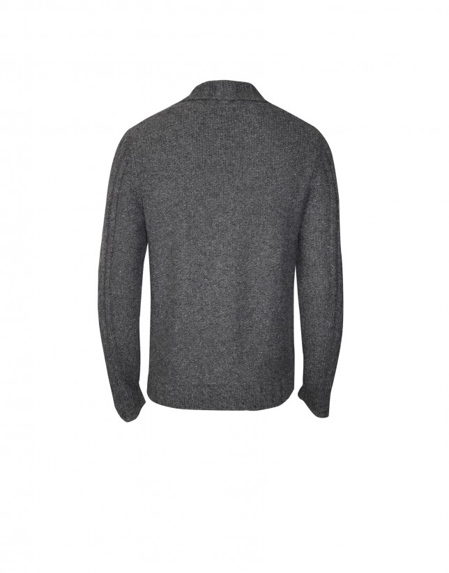 Cárdigan lana mezcla  gris marengo