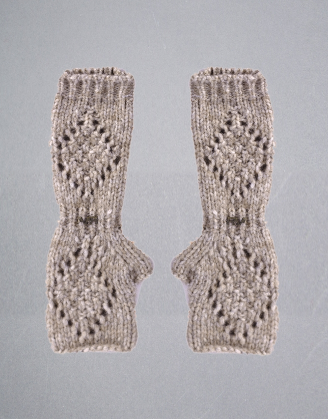 Beige vigoré knit gloves