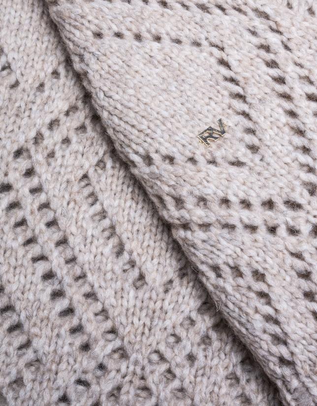 Mitaine tricot beige mélange