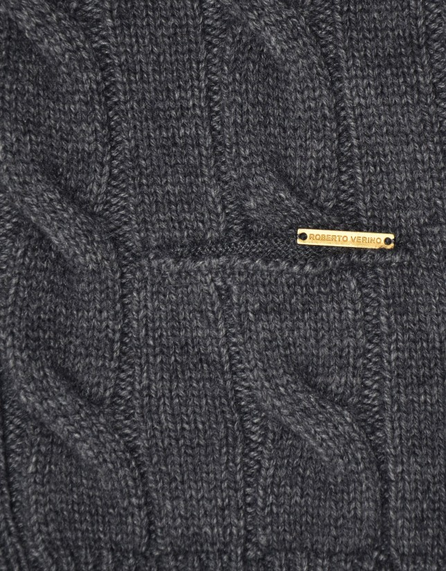 Cable-stitch cardigan with pockets