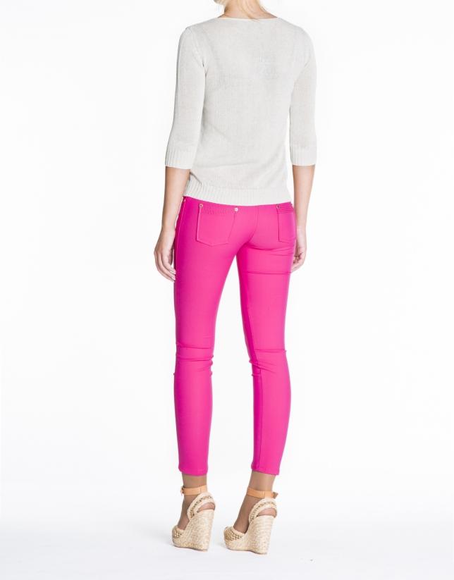 Beige linen V-neck sweater