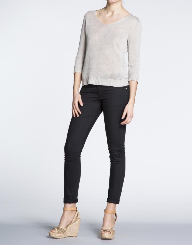 Ivory linen V-neck sweater
