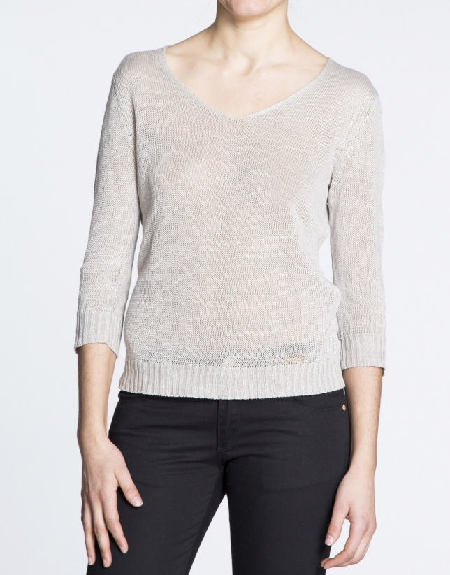 Ivory linen V-neck sweater