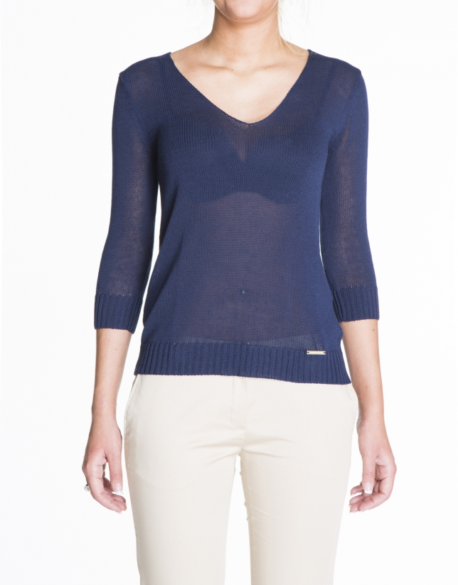 Blue V-neck linen sweater