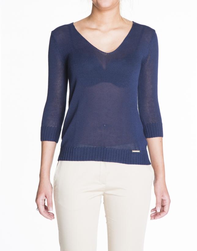 Jersey de lino en azul cuello V.