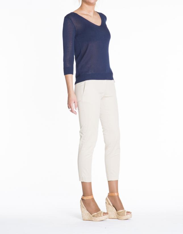 Blue V-neck linen sweater