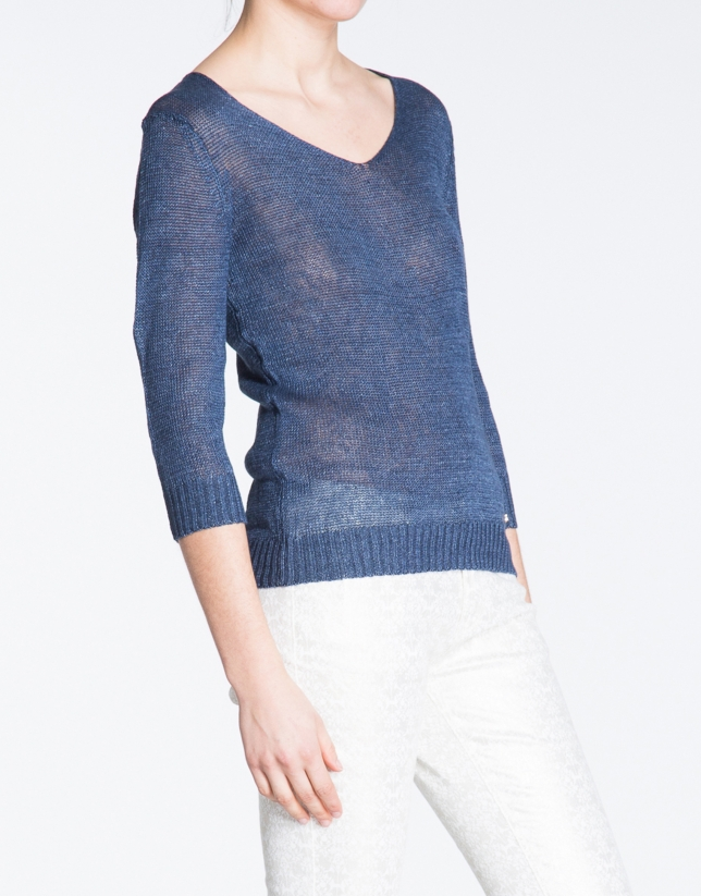 Navy blue V-neck linen sweater