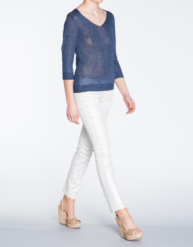 Jersey de lino en azul marino cuello V.