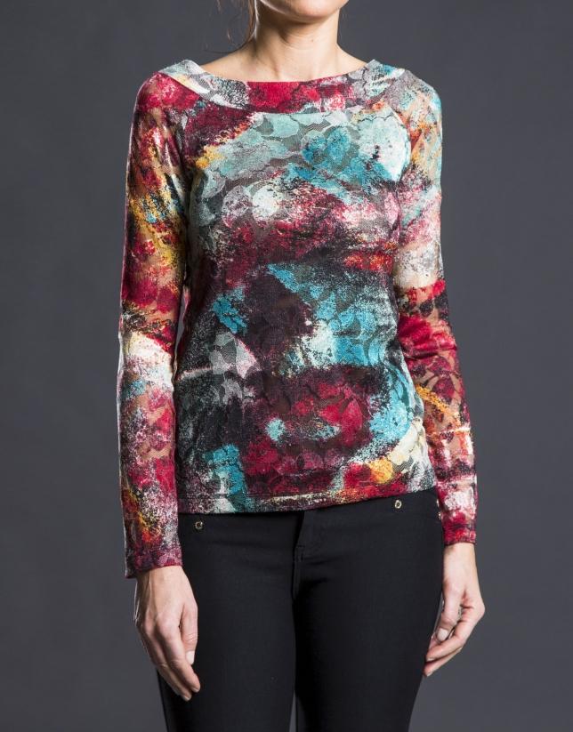 T-shirt fuschia à motifs floraux