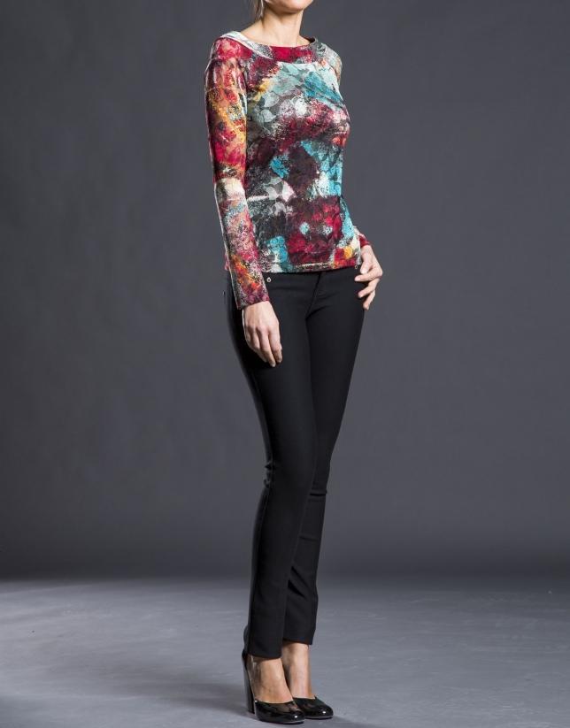 Camiseta estampada  floral fucsia