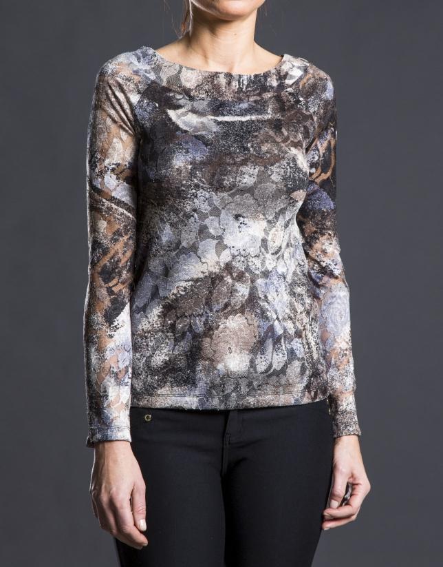 Camiseta estampada  floral gris