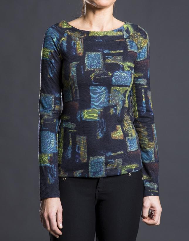 Camiseta estampada fantasía mostaza