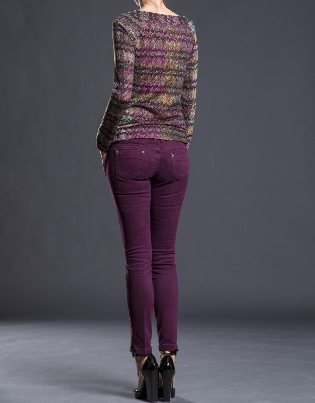T-shirt couleur aubergine à motifs fantaisie