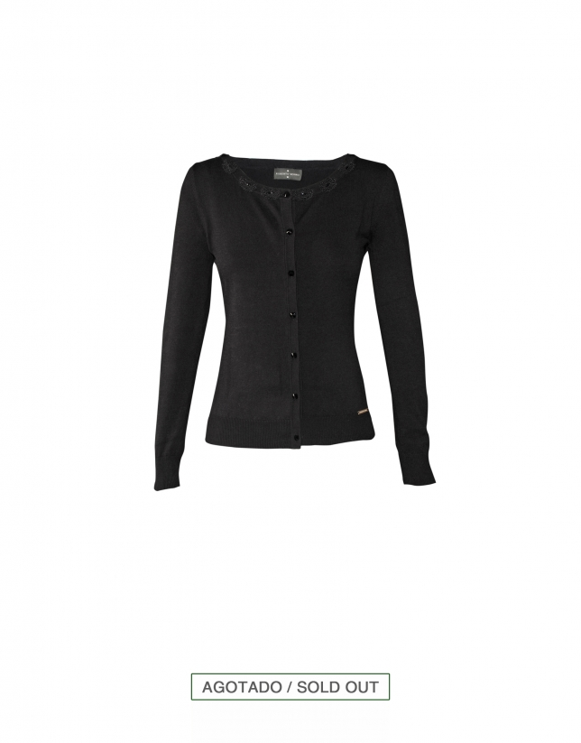 Black fitted cardigan with embellishments