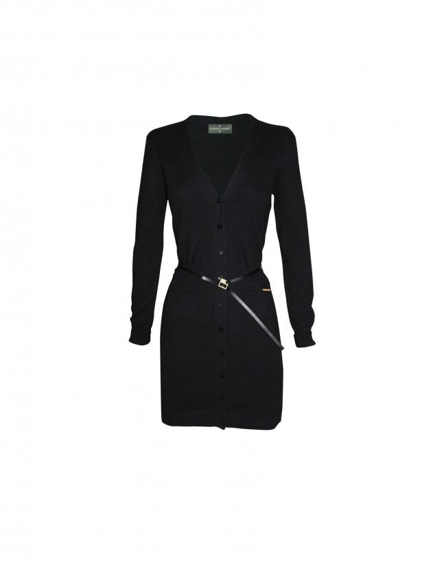 Long v-neck cardigan in black