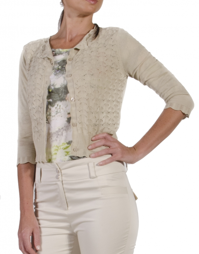 Viscose openwork sweater