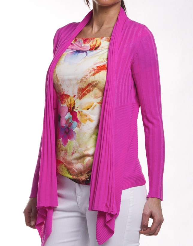 Viscose sweater with shawl collar
