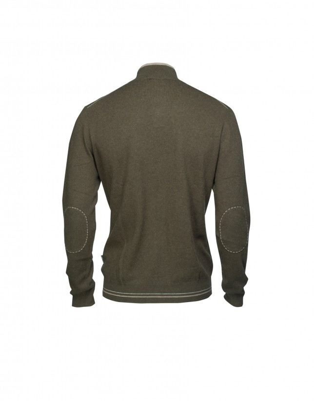 Khaki wool/cashmere pullover