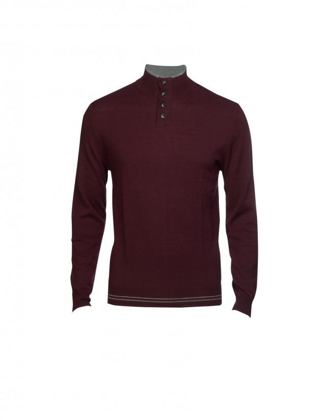 Aubergine wool/cashmere pullover