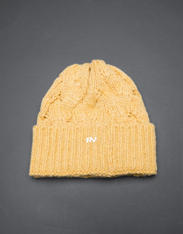Bonnet tricot moutarde