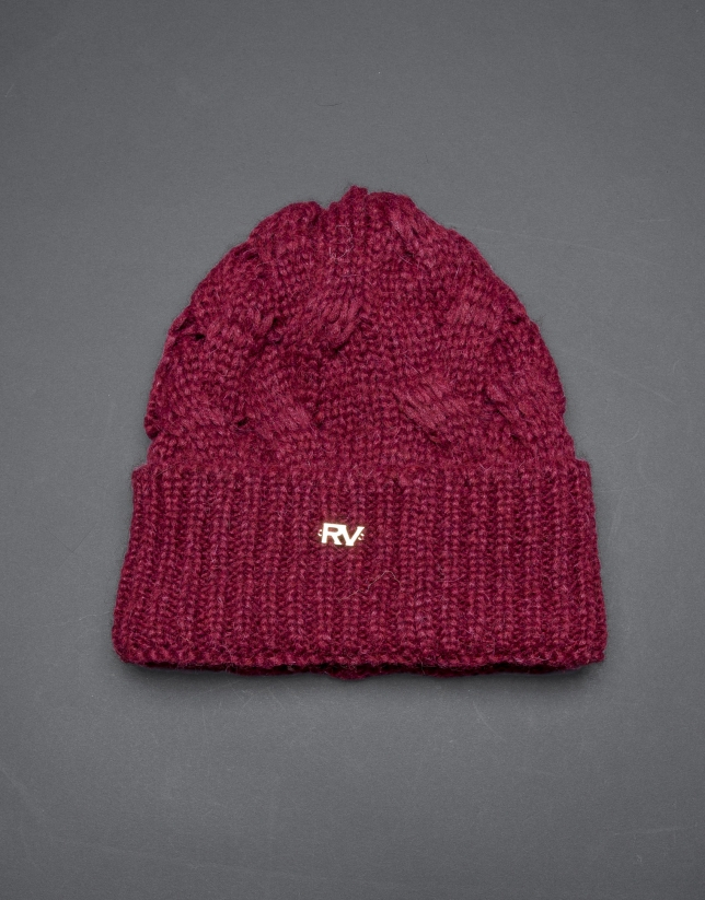 Bonnet tricot bordeaux