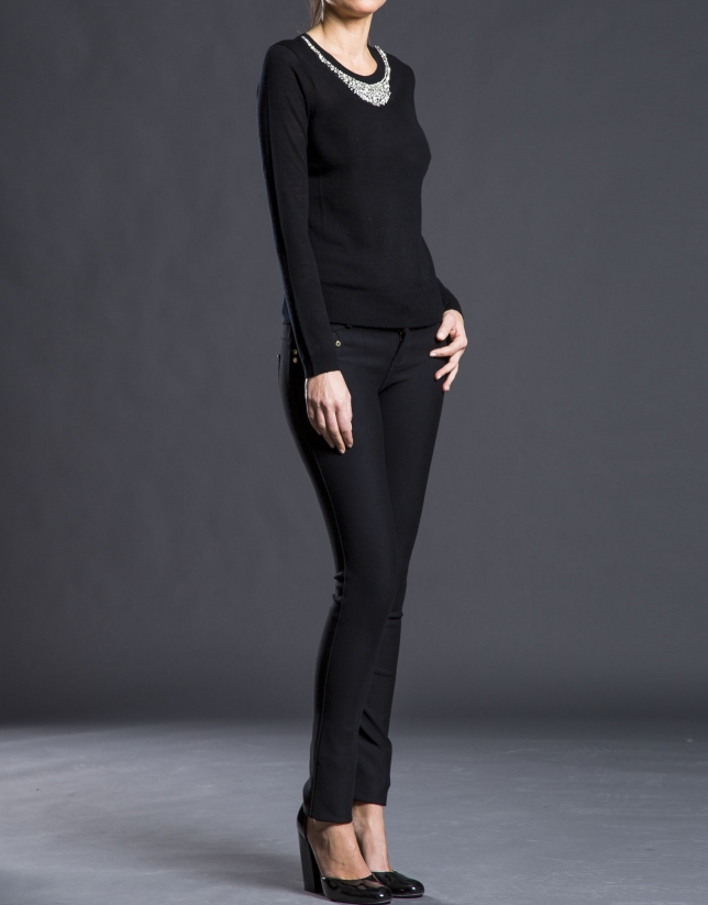 Jersey fino negro puntilla