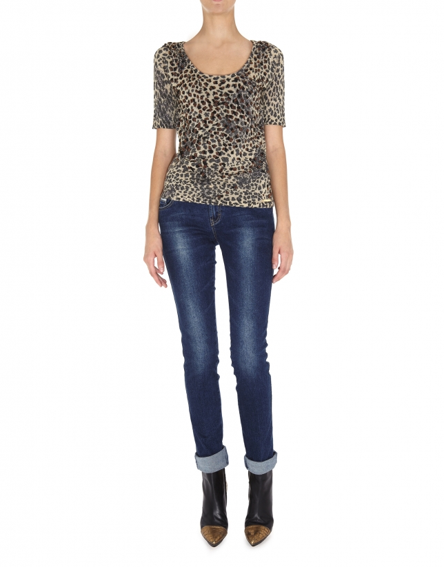 Animal print lurex short-sleeved top