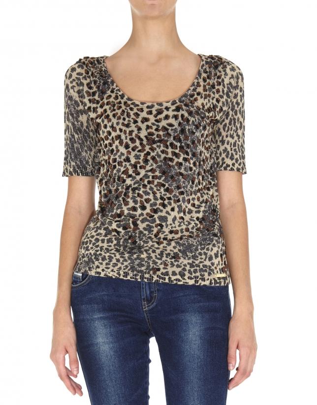 T-shirt lurex à manches courtes, imprimé animal