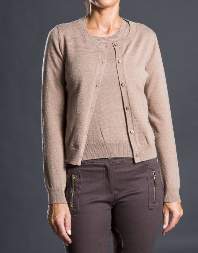 Gilet tricot beige