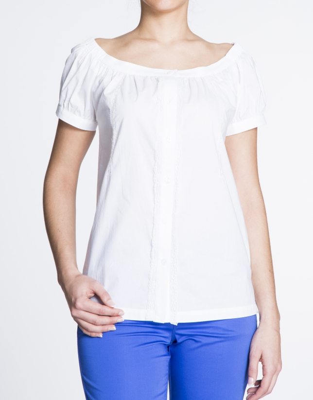 White boat neck cotton and lace blouse
