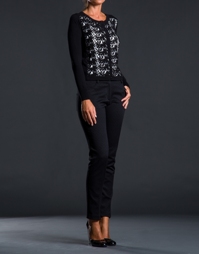Chaqueta negra punto crochet