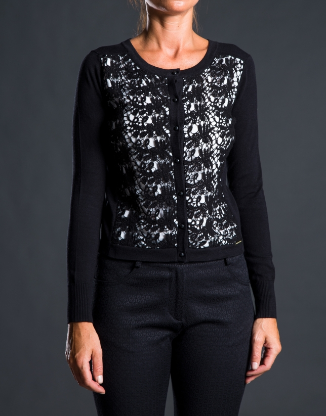 Black crochet knit jacket