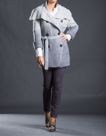Gilet long gris dégradé