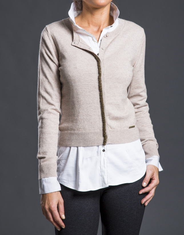 Beige knit jacket with trimming