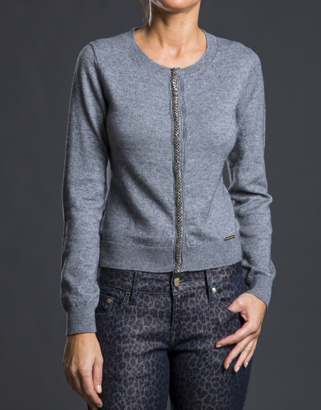Gray knit jacket with trimming
