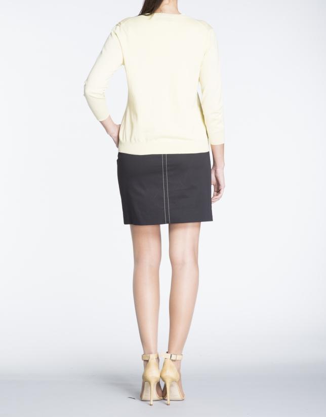 Yellow knit short sweater set