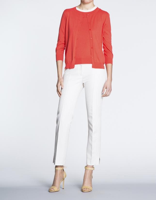 Geranium red knit short sweater set