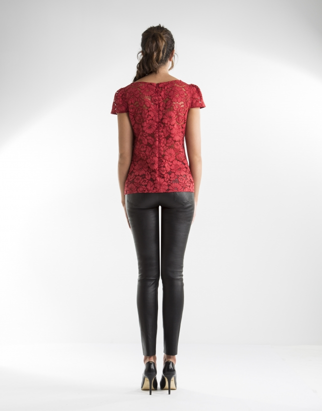 Red top with lace