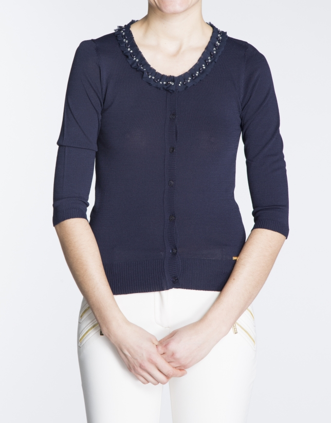 Navy blue sweater with beaded neck