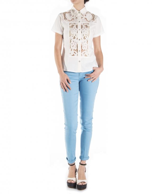 Short sleeve lace shirt