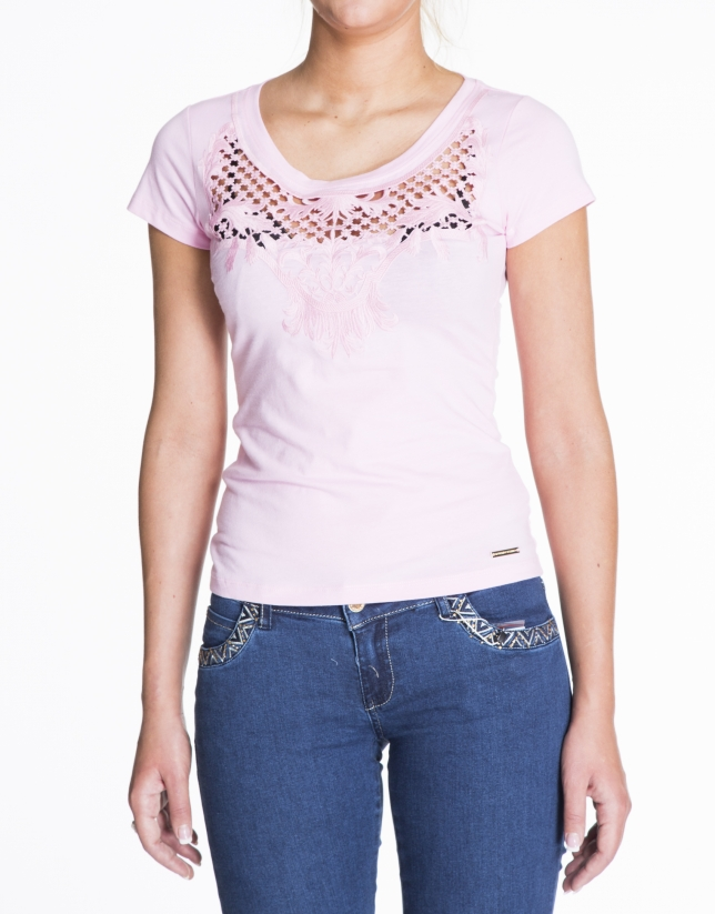 Pink short sleeve lace front top