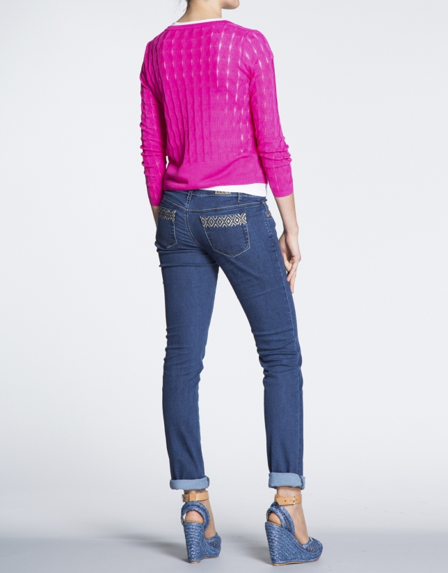 Fuchsia sweater with ripple effect