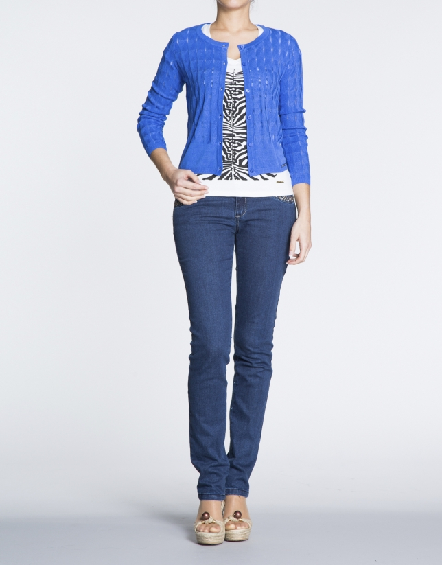 Klein blue sweater with ripple effect