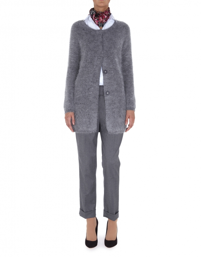 Long gray angora jacket