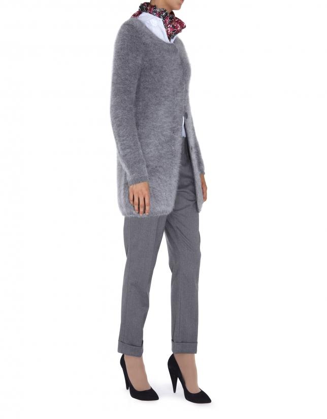 Veste longue en angora gris