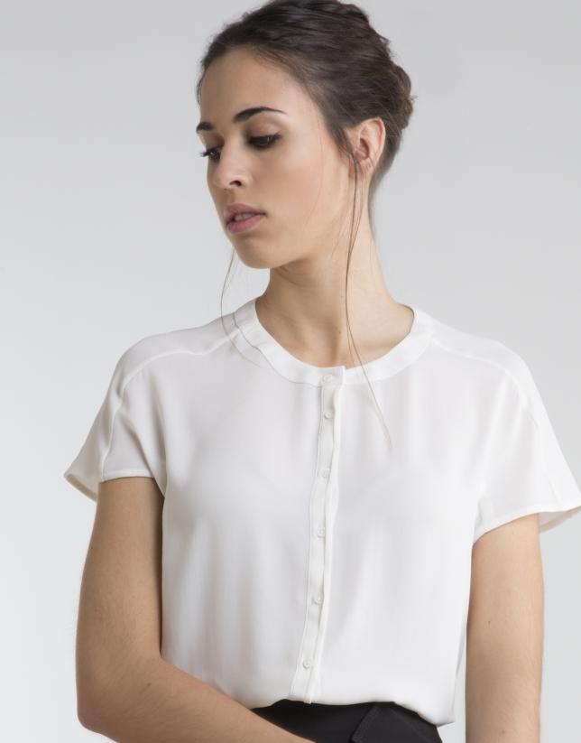 Camisa cuello mao crudo