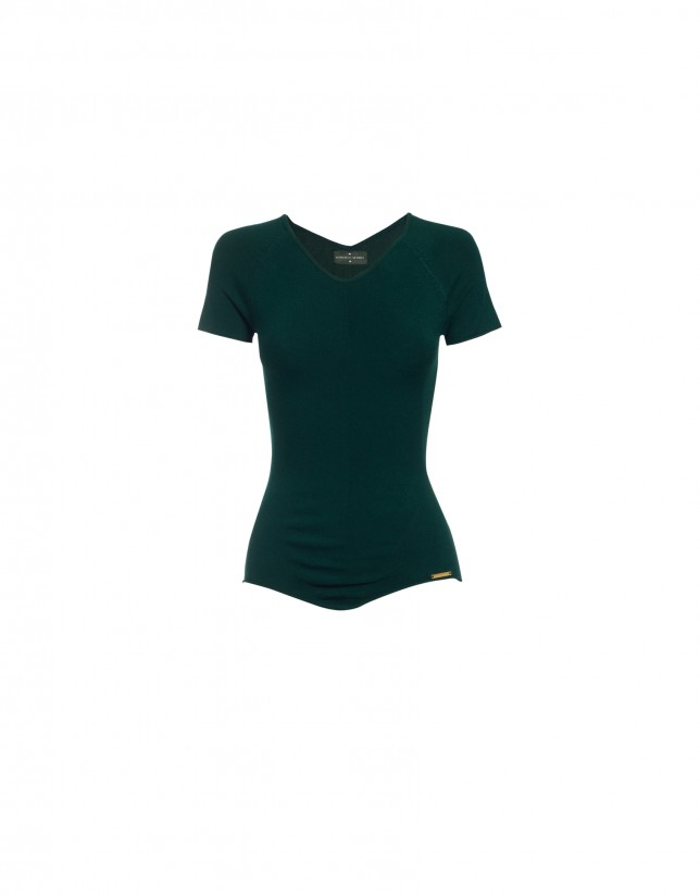 V-neck short sleeve green pullover