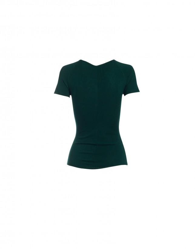 V-neck short sleeve green pullover