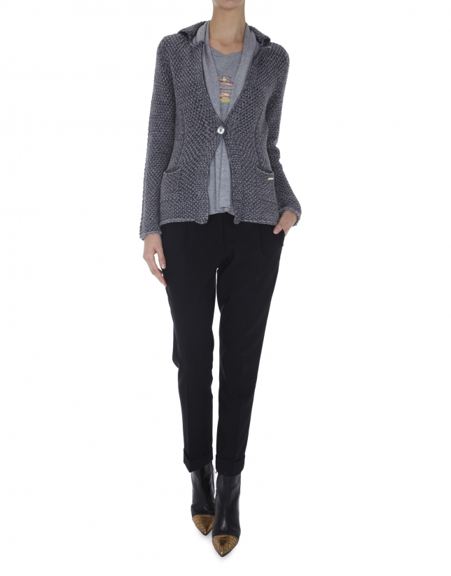 Gray knit blazer